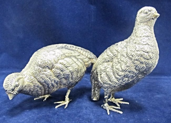 Pair of Silver Plated Quail by Roberto Rossi, Italy