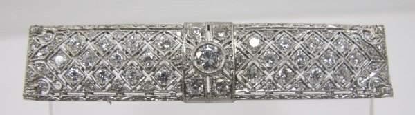 Vintage Platinum Diamond Brooch, Center Diamond=approx