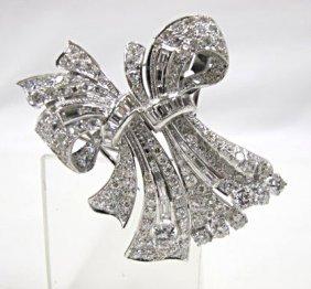 Platinum Diamond Brooch, Baguette & Round