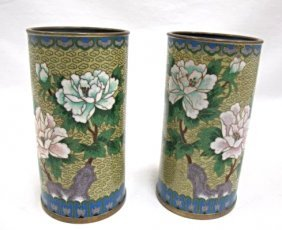 Pair Of Chinese Cloisonne Miniature Hat Stands/vases,