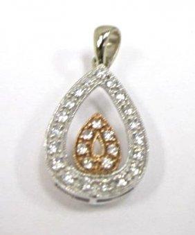 14k White Gold & Rose Gold Diamond Drop