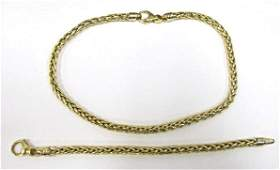 14K Yellow Gold Necklace  Matching Bracelet Set