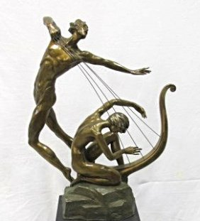 The Harp Player By Misha Frid, Bronze Sculpture, Singed
