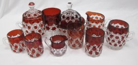 Collection Of Ruby Cut To Clear Pressed Glass To