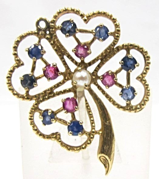 Vintage 14K Yellow Gold Sapphire, Ruby & Pearl Clover