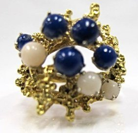 Vintage 18k Yellow Gold Lapis & Coral Cluster Ring,