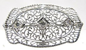 Antique Platinum Diamond Brooch, F Color, Vs Clarity