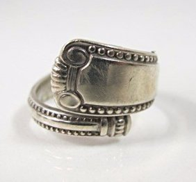 Sterling Silver Ring Made From Sterling Spoon, Size 8,
