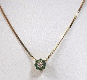 "14k Yellow Gold Emerald & Diamond Drop Necklace, 16"""