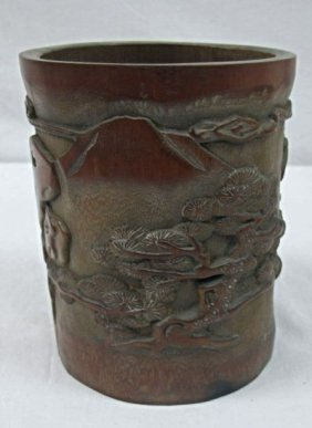 """Chinese Carved Bamboo Brush Pot, 6 1/4""""h X 5""""d"""