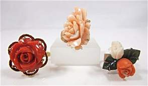 Collection of (3) Carved Coral & Gold Flower Rings