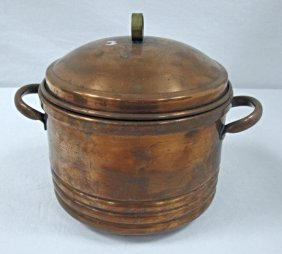 Vintage Copper Ice Bucket, Lidded And Lined