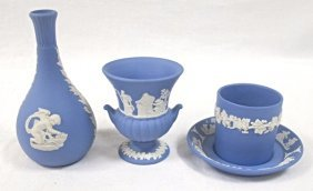 Four (4) Pieces Of English Wedgwood Blue Jasperware