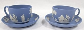 Two (2) Wedgwood Blue Jasperware Cups & Saucers,