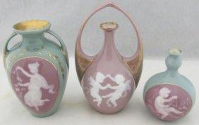 Pate-sur-pate Heubach Art Nouveau Porcelain Vases 3