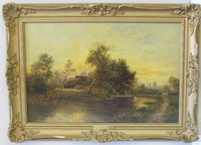 River Near Reading By Sidney Yates Johnson, Ca1885, Oil