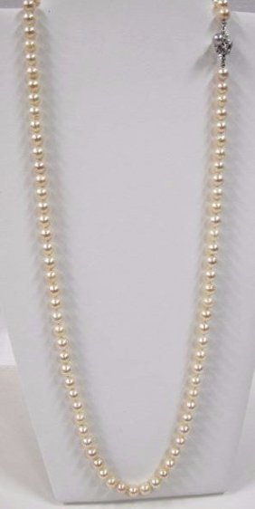 "Vintage 30"" Single Strand 7mm Cultured Pearl Necklace"