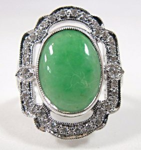 18k White Gold Jade And Diamond Ring, Jade=3.02cts.,