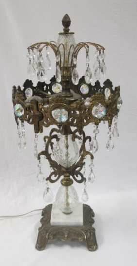 Crystal, Gilt Metal With Marble Base Lamp, Centerpiece,