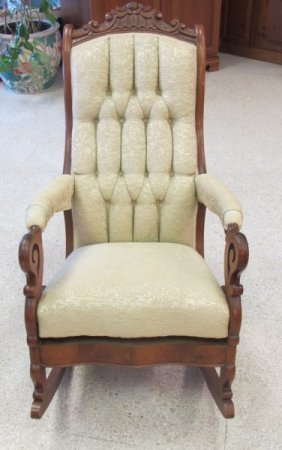 Victorian Carved Upholstered Rocking Chair