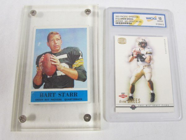 Drew Brees Graded Rookie Card and 1961 Bart Starr Card