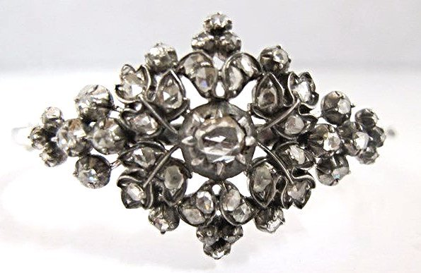19th Century Rose Cut Dia Bangle Bracelet, Rosette