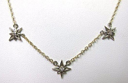 "14K Yellow Gold Diamond Child's Necklace, 1.58dwt, 13"""