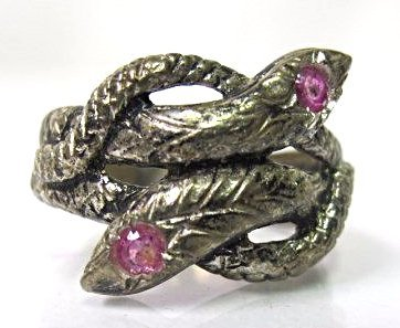 Sterling Silver Snake Ring with Ruby Eyes, Size 7 1/2