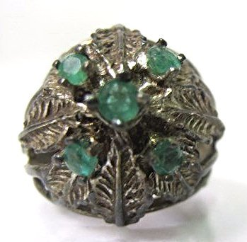 Sterling Silver Flower Ring with Five Emeralds