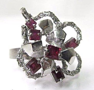 14K White Gold Ruby Flower Style Ring, 4.17dwt, Size 7