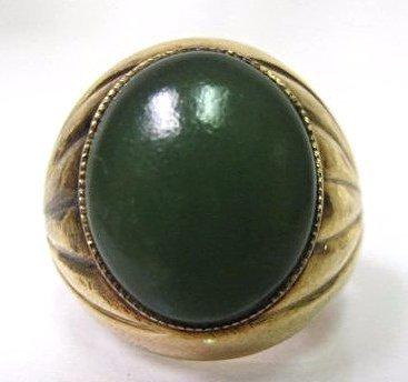 14K Yellow Gold Jade Ring, 4.04dwt, Size 6 3/4