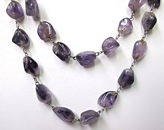 """Vintage Sterling Silver Amethyst Bead Necklace, 26"""""""