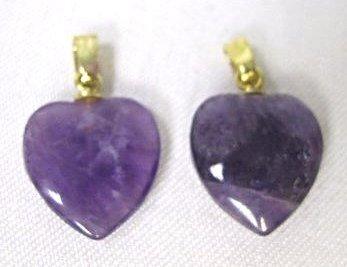 Two (2) Amethyst Heart Drops