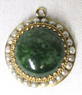 14K Yellow Gold Seed Pearl and Jade Pendant