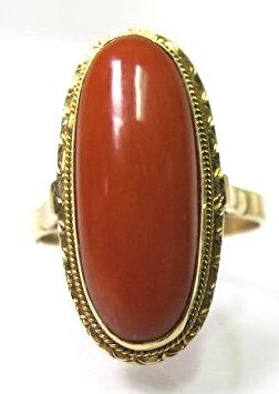 14K Yellow Gold Coral Ring, Size 6 3/4