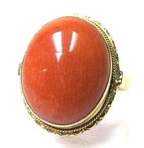 14K Yellow Gold Coral Ring, Size 6 1/4