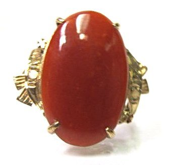 14K Yellow Gold Coral Ring, Size 8 1/2