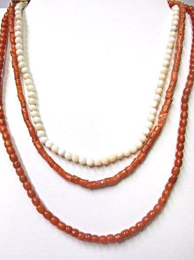 """Three (3) Coral Necklaces 15"""", 16"""" & 18"""""""