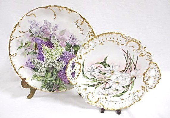 """H & Co. France Hand Painted 12 1/2"""" Lilac Plate Limoges"""