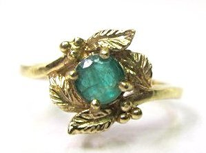 14K Yellow Gold Emerald Ring, Emerald=approx .40cts.,