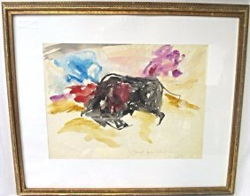 Bull by Elaine de Kooning, Watercolor was given to
