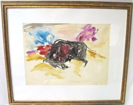 Bull by Elaine de Kooning, Watercolor