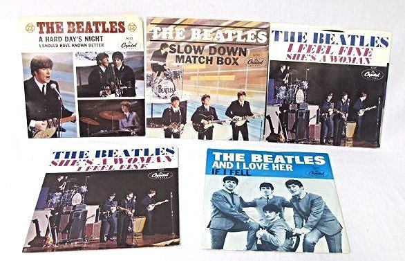Collection of Five (5) The Beatles 45RPM Capitol