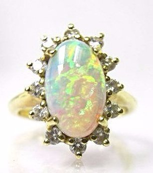 18K Yellow Gold Opal and Diamond Cluster Ring