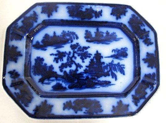 Ironstone Flow Blue Chapoo Pattern 8x11 Plate,