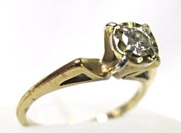 Antique 14K Yellow Gold Diamond Ring - 2