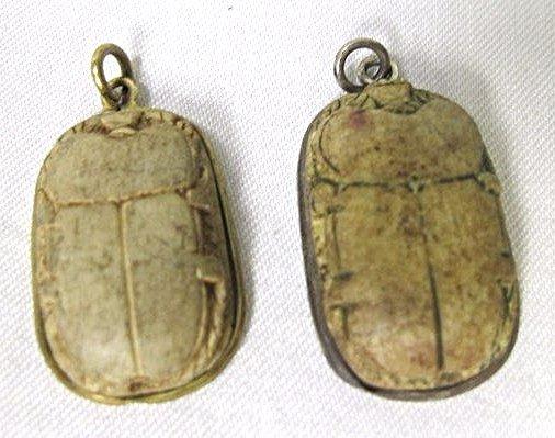 Two (2) Vintage Scarab Drops