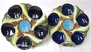 Two 2 Five Wells Majolica Oyster Plate Minton Stoke