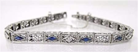 Antique Art Deco14K White Gold Sapphire  Dia Bracelet