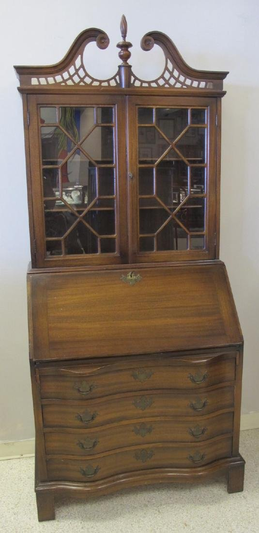 "Chippendale Style Two Piece Secretary Desk, 87""x36""x20"""
